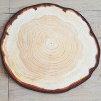 1PC 2 Sizes Wooden Trees Rings Style Rug Country Stripe Blue Lake Living Room Mat Kids