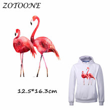 ZOTOONE Pretty Flamingo Iron on Transfer Patches for Clothing Dresses T Shirt Beaded Applique Clothes DIY Accessory Decoration C sew pretty t shirt dresses