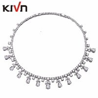 KIVN Jewelry Blue Cubic Zirconia Luxury Womens Girls Bridesmaids Bridal Wedding Necklaces Birthday Gifts 10pcs Lots Wholesale