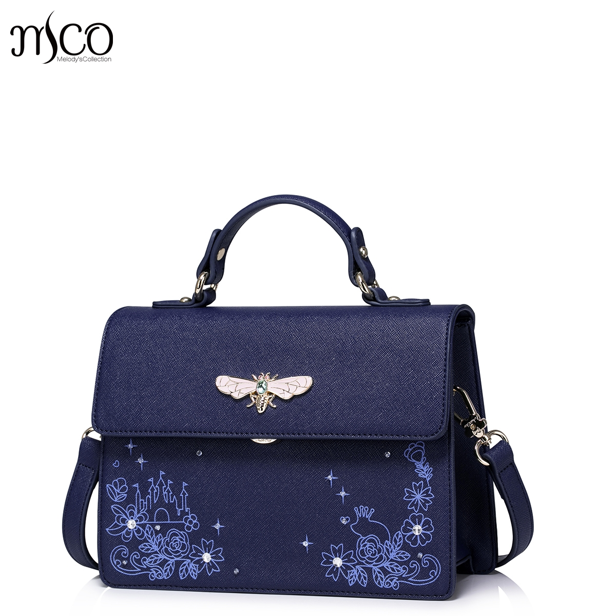Brand Design Luxury Flower Printing Diamond Bug Ladies Top Handle Handbag Beading Flap Messenger Bag For Women Shoulder Bags