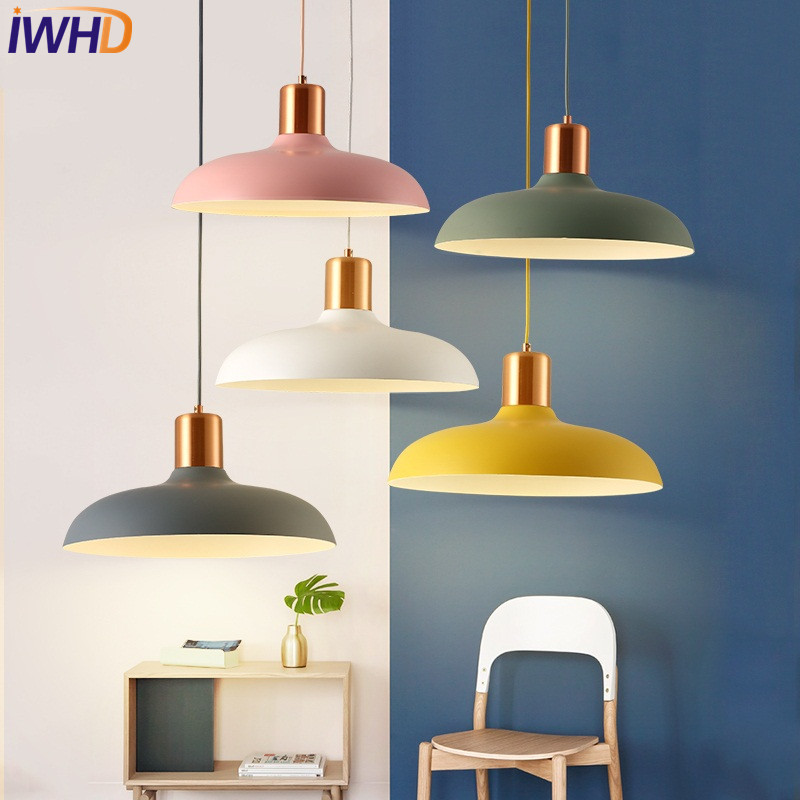 IWHD Loft Style Simple Iron LED Pendant Light Fixtures Creative Modern Hanging Lamp Dining Room Droplight Indoor Lighting modern simple european style dining room lighting american hollow carved iron bedroom pendant lights