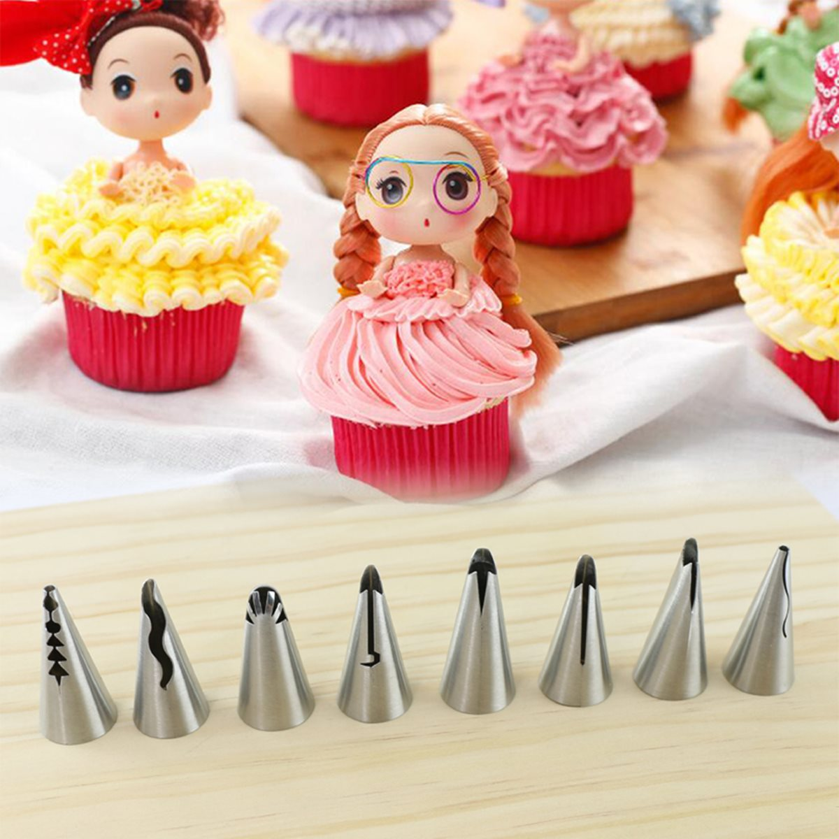 Pcs set stainless steel icing piping nozzles pastry cake