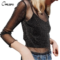 Sexy Fashion Women T Shirt See Through Mesh Lace Long Sleeve Cropped Top Tshirt 2017 Transparent