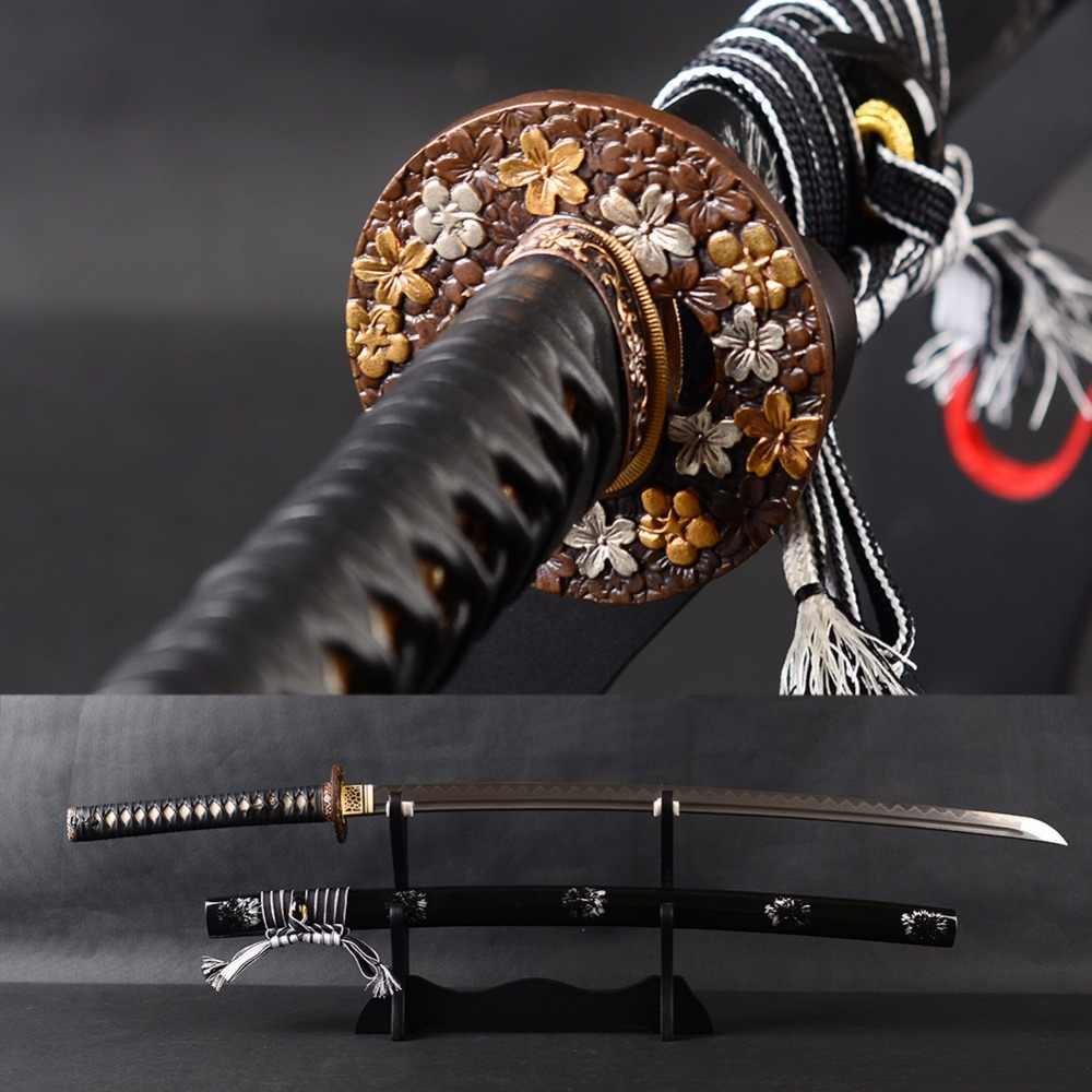 Bardzo ostry japoński samuraj miecz Katana damaszek ze stali giętej glina hartowane ostrze Full Tang Iaido szkolenia miecz Espadas nóż