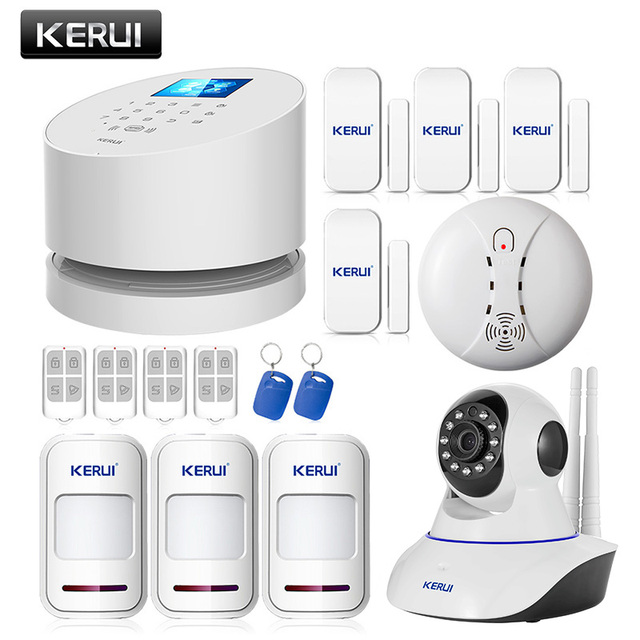 KERUI Android IOS app remote control WIFI GSM PSTN three in one home security alarm system high quality gsm alarm system