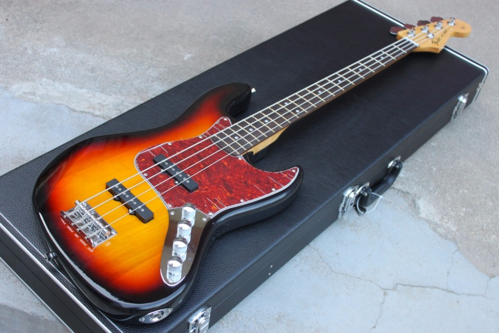 Best Price New 4 Strings Jazz Bass Vintage Sunburst w 9 V Battery Active Pickups Electric Bass Guitar Free Shipping In Stock free shipping professional alice a609c colorful coated copper alloy wound electric bass strings a set 4 strings wholesales