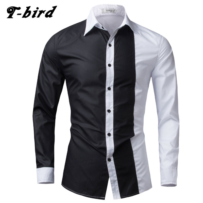 New Fashion Brand 2017 Men Shirt Black White Dress Shirt Long Sleeve Slim Fit Camisa Masculina