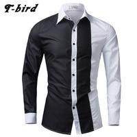 New Fashion Brand 2017 Men Shirt Black White Dress Shirt Long Sleeve Slim Fit Camisa Masculina