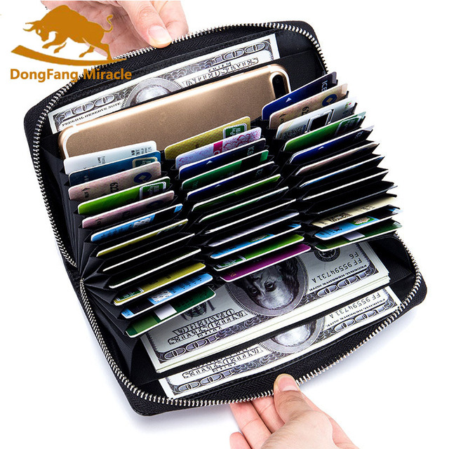 Men Genuine Real Leather Long Credit Bank Plastic Card Case Holder For Women Ladies Passport Holder Multi-function Wallets