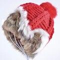 Venta caliente real Rabbit Fur sombreros para las mujeres invierno lana Tejido de Punto gorritas tejidas del sombrero de las mujeres 2017 de la marca nueva gruesa hembra Ocasional cap girls