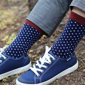 Image 4 - Классические хлопковые носки в горошек для мужчин, повседневные носки с узором ромбиками, размеры 7,5 12 (5 пар/партия) США