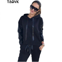 TAOVK Chic Woman's Sets Sportwear Sleeve Joints PU Suits Side Split Zippers Design Hooded Sweatshirt Pant Tracksuit Size 46 48