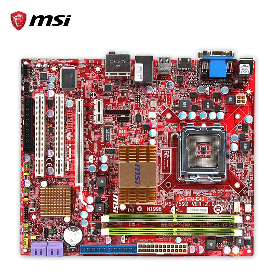 MSI G41TM-E43 Original Used Desktop Motherboard G41 Socket LGA 775 DDR2 8G SATA2 USB2.0 Micro-ATX msi p41 c31 original used desktop motherboard p41 socket lga 775 ddr3 4g sata2 usb2 0 atx