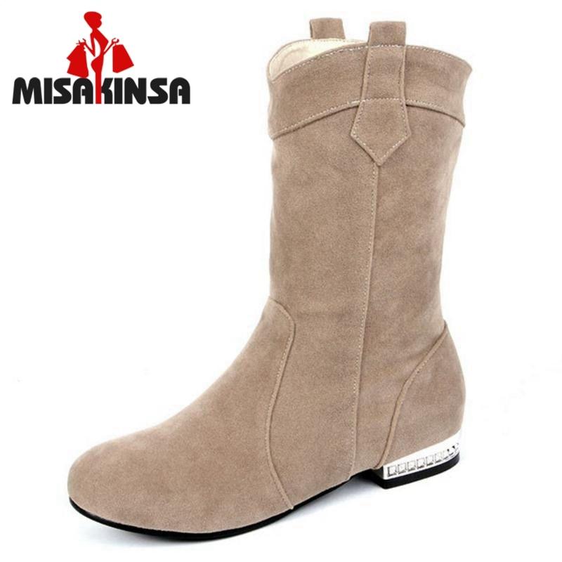 New Women Round Toe Flat Mid Calf Boots Woman Fashion Winter Warm Fur Half Short Botas Feminine Shoes Woman Size 34-43 цена