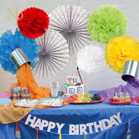 Nicro 24 Pz/set Colori Della Miscela del Fiore Ventaglio di Carta Dot Tessuto Artigianato Decor Bambino Mostra Birthday Party Tavola Festa A Casa Supplie