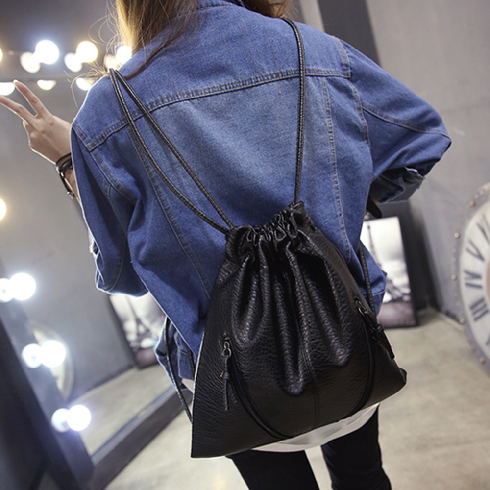Women Backpacks Soft Leather Drawstring Bag Brand Designer Travel Backpack for Teenage School Bags Black Backpack Pack Sac A dos fashion women backpack black soft leather backpacks female school shoulder bags for teenage girls travel back pack sac a dos