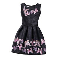 Sleeveless Girls Dresses Butterfly Floral Print Teenagers Dress For Girls Clothes Formal Princess Party Dress Baby