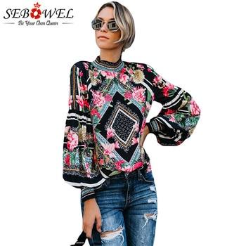 SEBOWEL Black Bohemian Floral Women Blouse Chic Long Sleeve Womens Tops and Blouses Blouse Leopard Turtleneck Female Shirts Tops cardigan