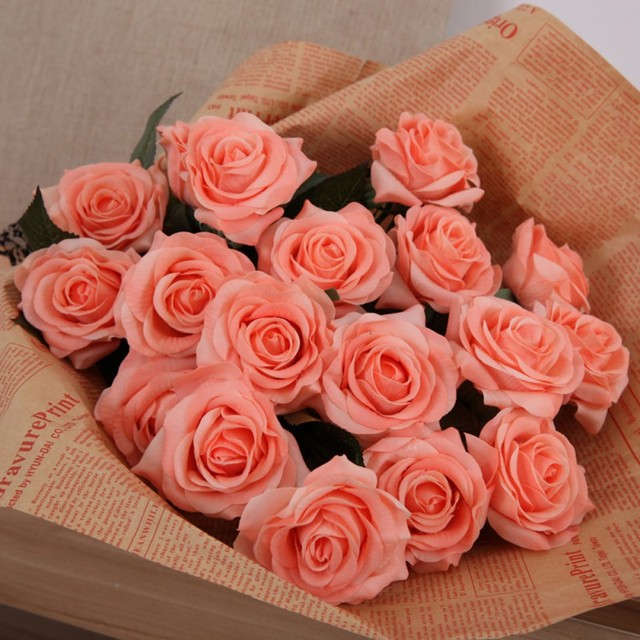 Wedding artificial silk latex rose flowers bouquet bridal decoration wedding artificial silk latex rose flowers bouquet bridal decoration bundles touch flower bouquets realistic flow junglespirit Images