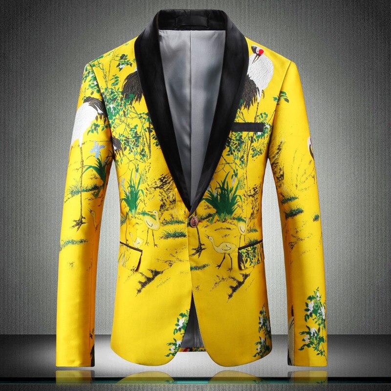 Желтый пиджак, роскошный мужской блейзер с принтом, приталенный, Цветочный, для мужчин, одежда для сцены, Блейзер, стильный, вечерние, для сва...