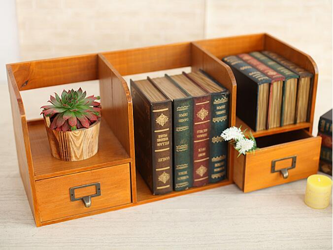 1 PC Zakka épicerie en bois tiroir armoire bureau livre organisateur décoration de la maison en bois boîte de rangement NM 009 - 2