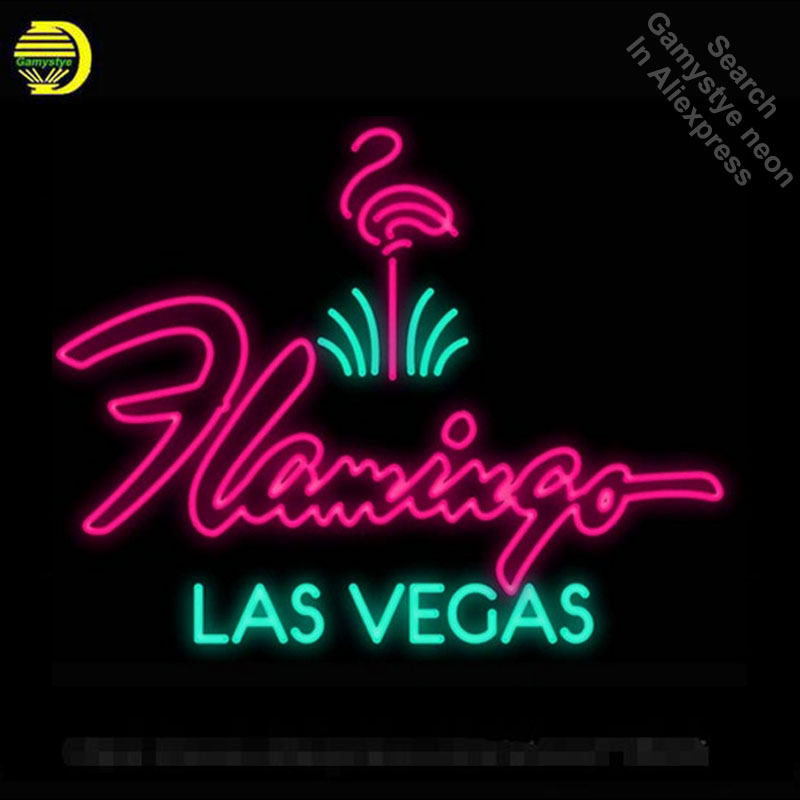 Flamingo Hotel Las Vegas Neon Sign light Car Neon Bulbs signage Vintage neon signs Business Real Glass Tube Board Bar Sign 24x20