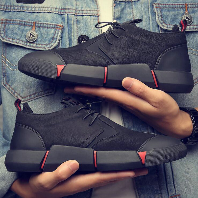 all Black Men's leather casual shoes Breathable Sneakers