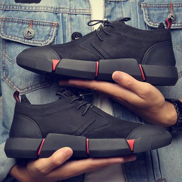 NUOVO di Marca di Alta qualità tutto Nero di cuoio degli uomini di scarpe di Moda casual Traspirante Scarpe Da Ginnastica di moda appartamenti di grande più il formato 45 46 LG-11