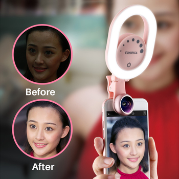 LED Selfie Light with Wide Angle Lens Clip-on Rechargeable LED Ring Light for iPhone X87 Plus Smartphone Tablet tik tok use tik tok ring light