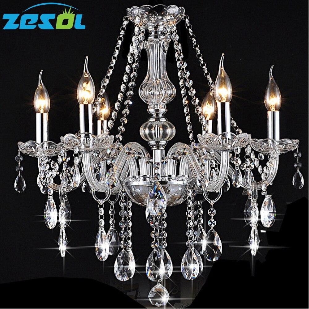 ZESOL 6 Světla LED křišťálový lustr Dekorace obývacího pokoje Přívěsky Lustry Domácí interiérové osvětlení