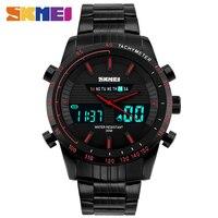 Men Watches SKMEI Luxury Brand Full Steel Quartz Clock Digital LED Watch Army Military Sport Watch