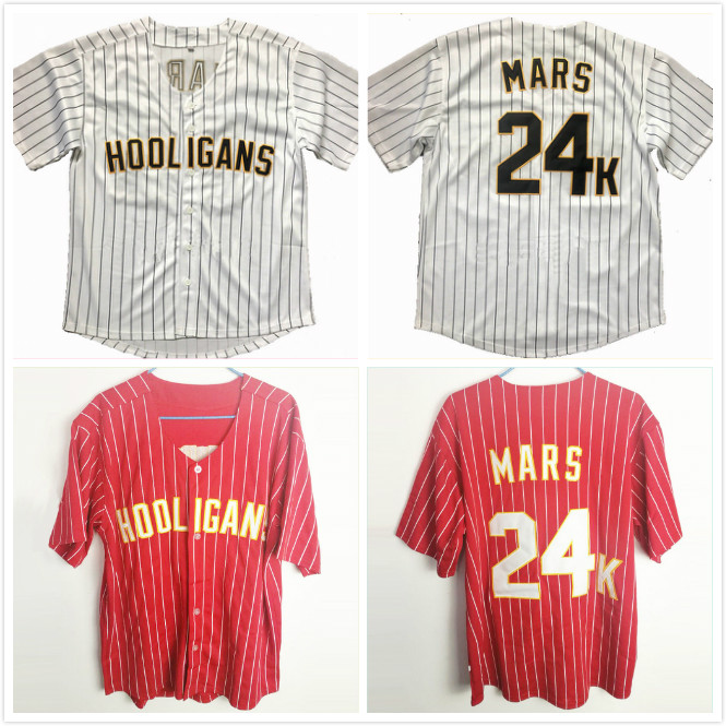 Bruno Mars 24K Hooligans White Red Pinstriped BET Awards Baseball Jersey Throwback for Men Stripe Stitched Button Down Glod Edge