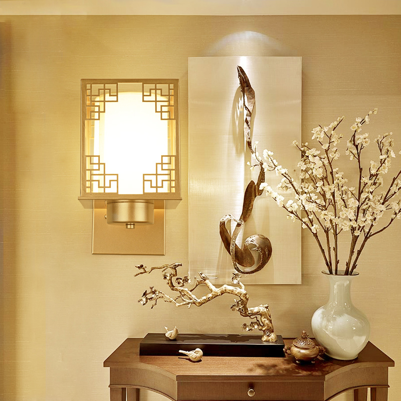 Modern wall lights Chinese style iron bedside bedroom living room lamp creative retro simple corridor lamps Wall Lamps LO71410 modern mini bedroom wall lights simple bedside lamp creative living room wall lamps fashion home decoration lighting white black