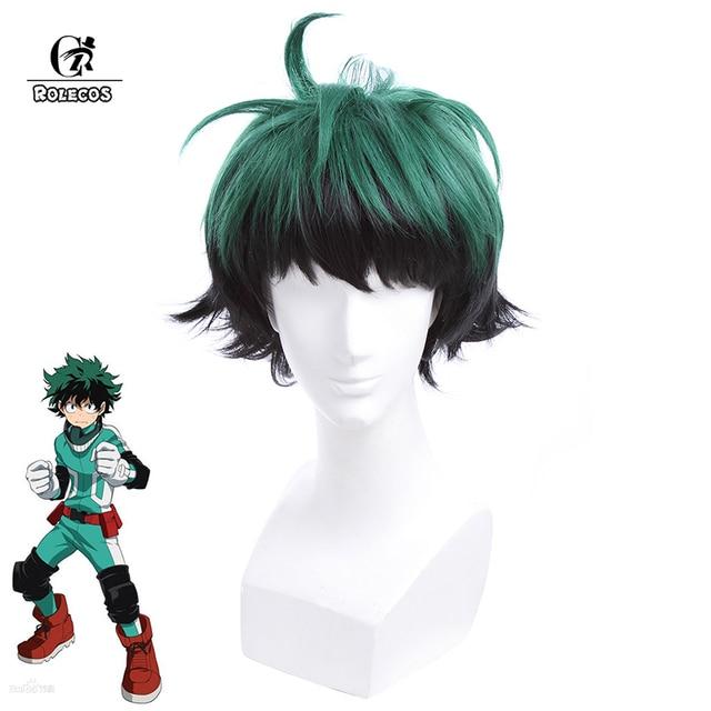 ROLECOS Izuku Midoriya Cosplay Headwear My Hero Academia 2 Cosplay Headwear 30cm/11.81inch Green Short Synthetic Hair
