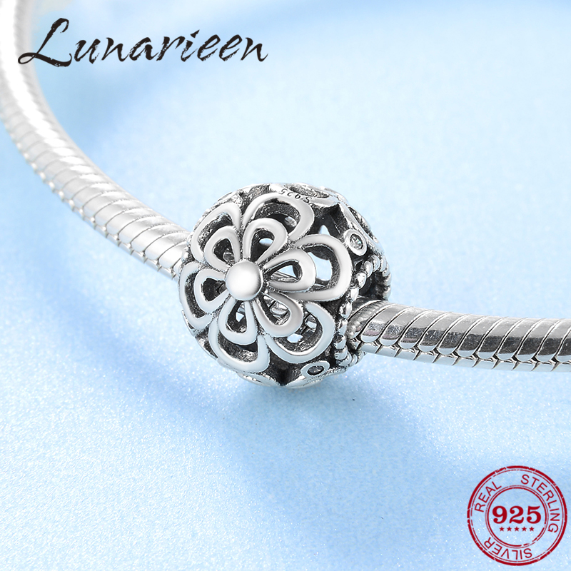 Wholesale New 925 Sterling Silver Fashion Openwork Flower Accessories Beads Fit Original Pandora Charm Bracelet Jewelry Making