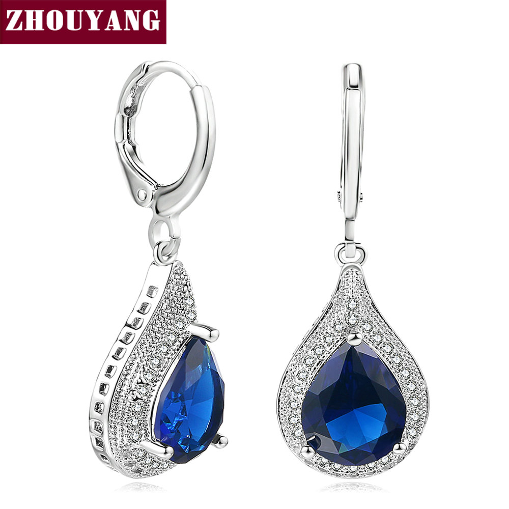 clear earrings for work zhouyang luxury blue clear tear drop drop 2475