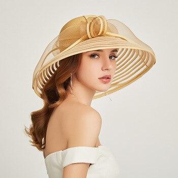 a07ecb11 2019 nuevo sombrero de sombrilla con lazo de playa sombreros de verano para  mujeres protección ...