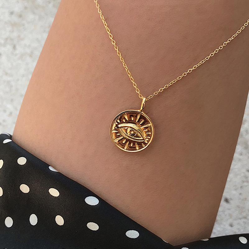 Gold Color Coin Devil Eye Pendant Necklaces For Women Simple Round Evil Eyes Layered Choker Boho Charms Necklace Jewelry A663