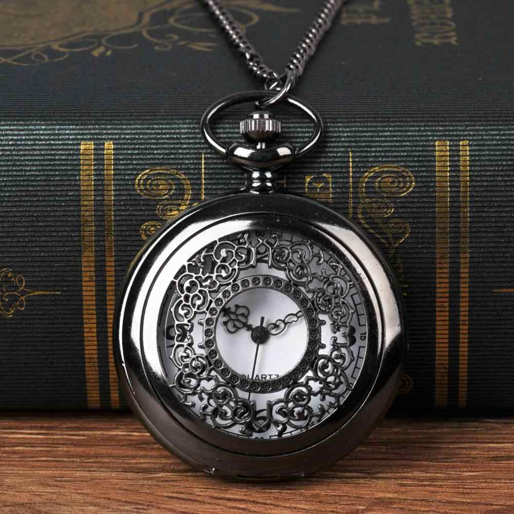 Vintage Classic Black Large Pocket Watches White Flower Perspective Quartz Watch with Necklace