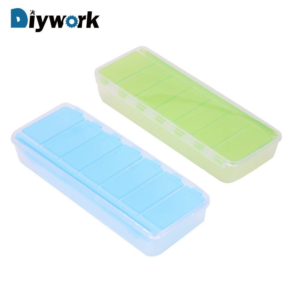 DIYWORK 7 Grids Tool Box Screw Storage Jewelry Storage Case Tool Packaging Independent Cover Electronic Components