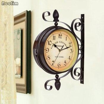 Retro Küchenwanduhr | Europäische Doppel Gesicht Eisen Wanduhr Retro Design Küche Metall Uhr Vintage Wanduhren Reloj De Pared Bauernhaus Dekor 50ZB084