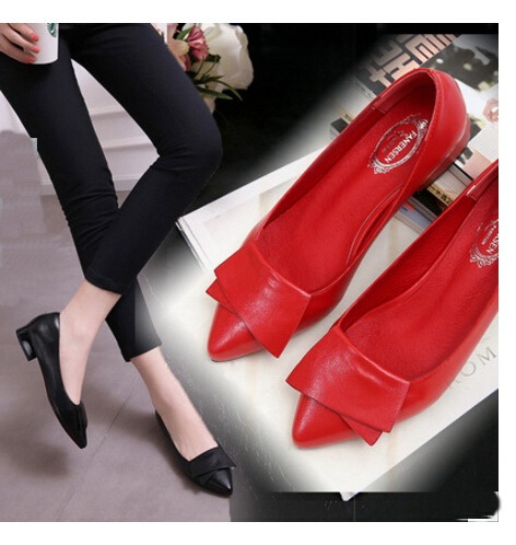 Spring Autumn Fashion bow pointed toe ballet flat shoes women flats shoes woman