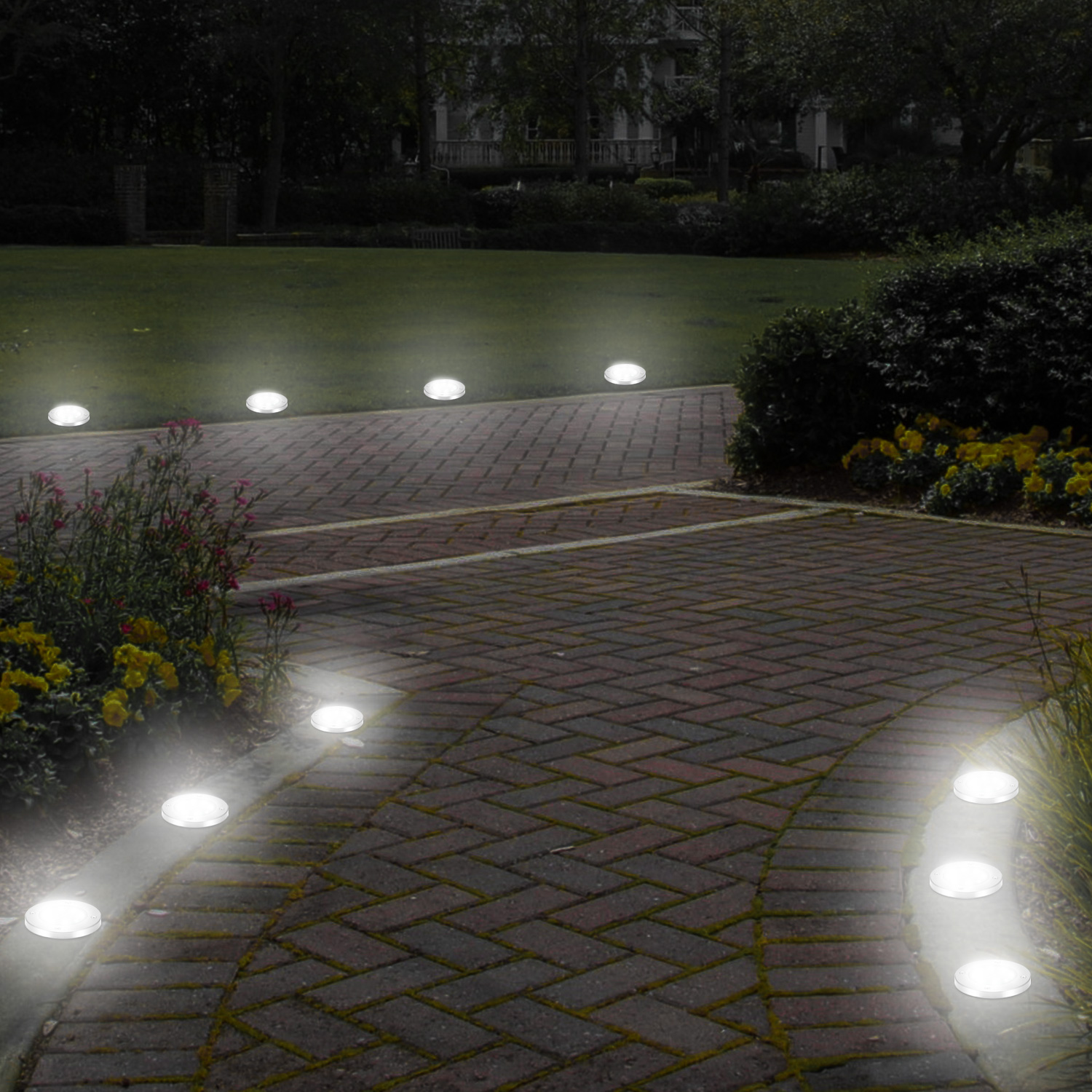 Us 16 44 35 Off 4pcs Waterproof Led Solar Lawn Lights 8 Leds Outdoor Ed Buried Ground Light Garden Decor Path Lamp In