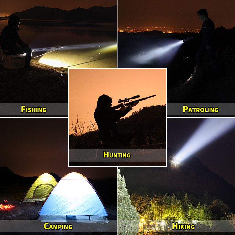 Купить с кэшбэком SHENYU Super Bright Outdoor Handheld Portable USB Rechargeable Flashlight Torch Searchlight Multi-function Long Shots Lamp