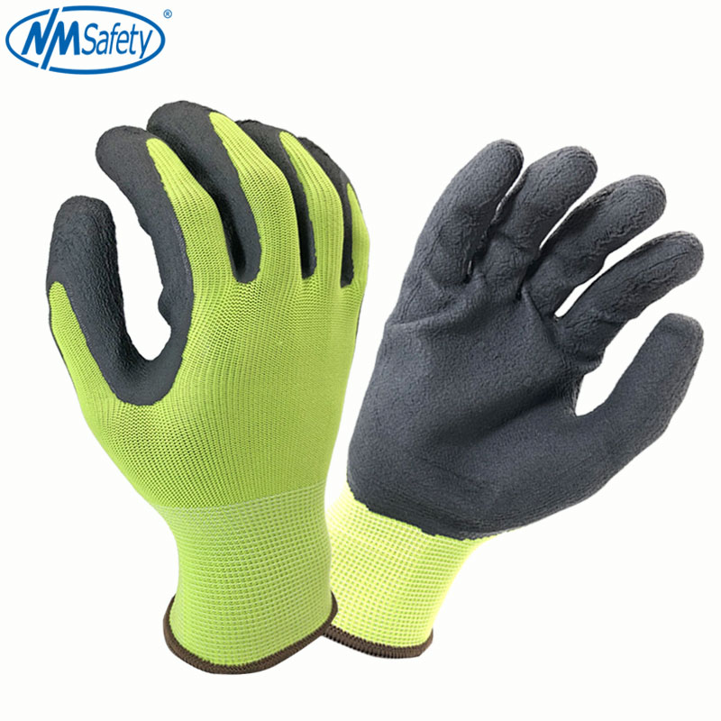 NMSafety Hot Sale Polyester Black PU Latex Work Safety Gloves Mechanic Working Gloves Men