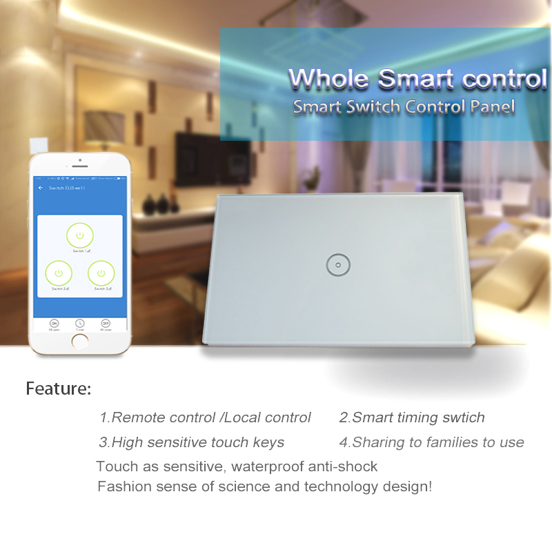 Work with Amazon Alexa and Google home   Wall light switch WiFi switch app control touch glass panel switch for smart home 2
