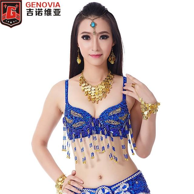 a906f4af84b49 Women Belly Dance Sequin Leaf Floral Performance Costume Belly Dance Bra    Top 34 75c