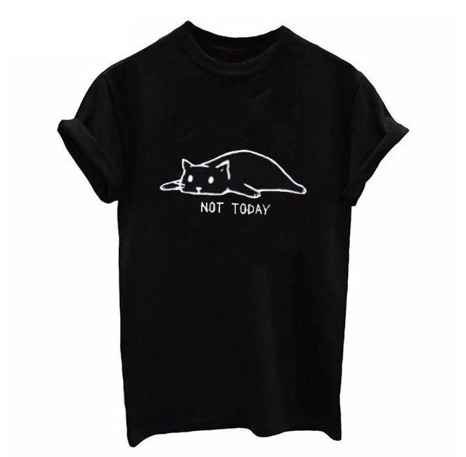 Women New Arrivals T-shirt Woman Tee Tops Casual Female Tshirt Plus Size XS-XXXXL Harajuku NOT TODAY Cute Cat Print T Shirt