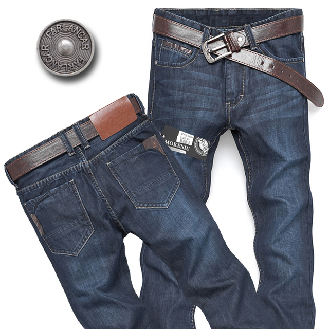 CONNER LEE jeans men back pocket stripe high quality pants jeans male Casual straight jeans ...
