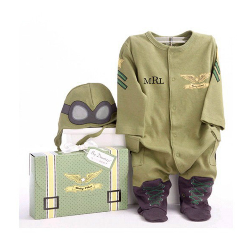 Cap Fly Aviators Helmet Without Foot Cotton Boys' Baby Clothing Army Green Baby Rompers Pilot Airman Costumes Baby Boy Clothes Hat Space Jumpsuit Rompers